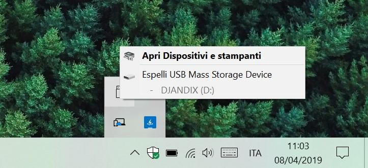 Windows 10 rimozione sicura hardware dispositivi USB