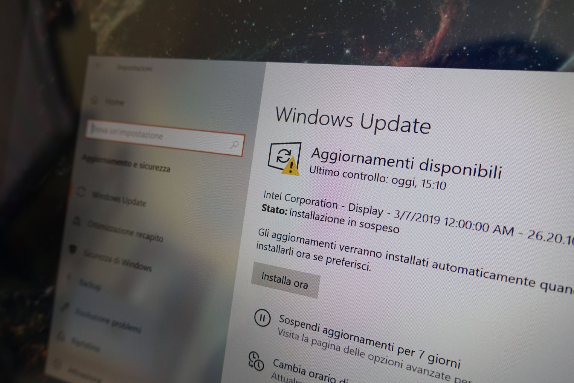 Windows Update aggiornamenti disponibili Windows 10 May 2019 Update