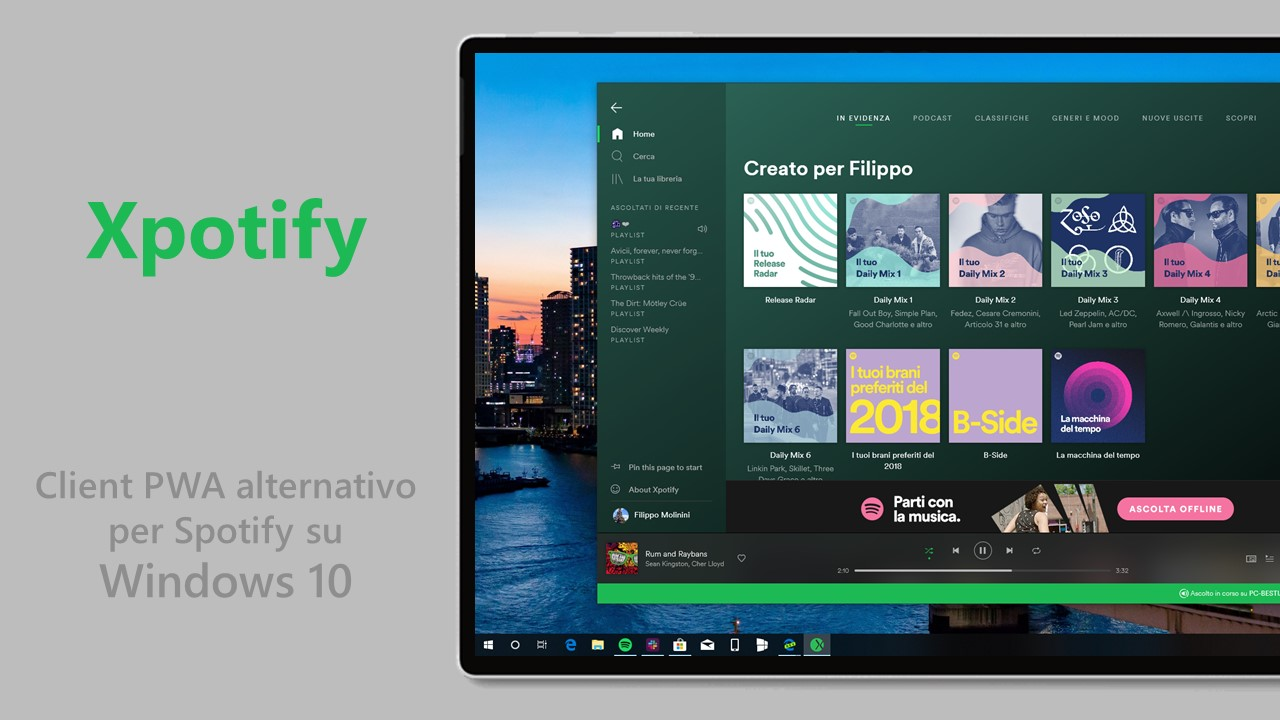 Xpotify client alternativo PWA Spotify Windows 10 hero