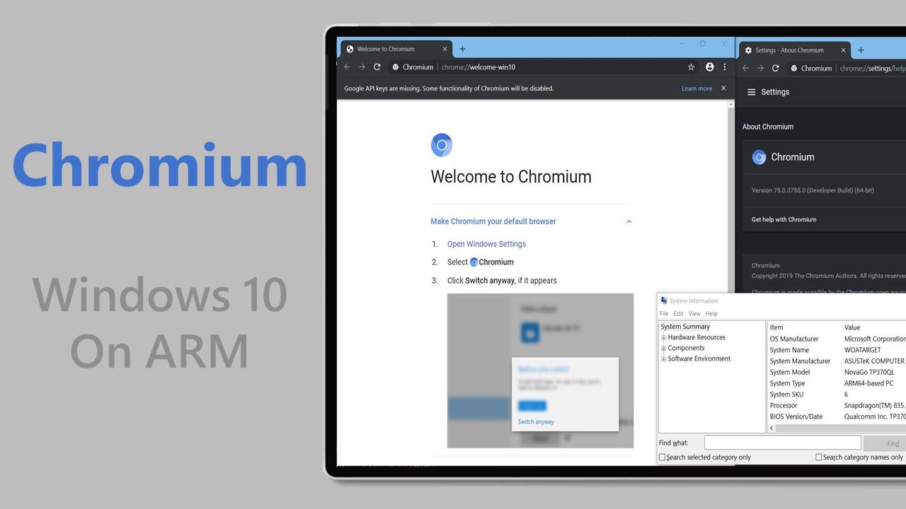 video] Demo di Chromium in funzione su Windows 10 on ARM
