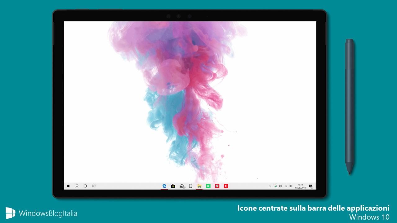 Come centrare le icone sulla barra delle applicazioni in Windows 10