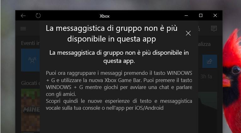 Messaggi di gruppo rimossi Xbox Windows 10
