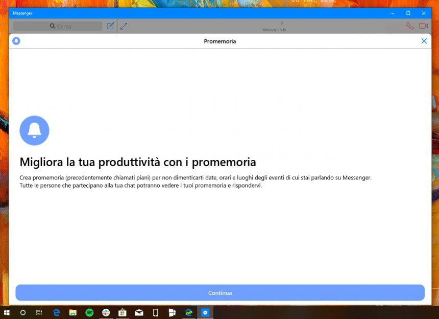 Messenger Windows 10 promemoria in chat