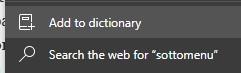 Microsoft Edge Dev nuova icona aggiungi al dizionario