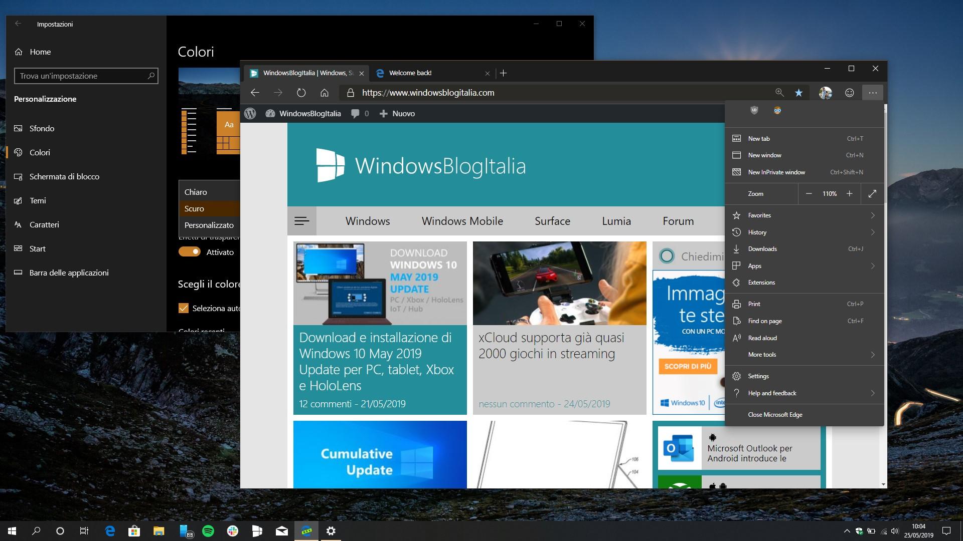 Microsoft Edge Dev tema scuro ufficiale