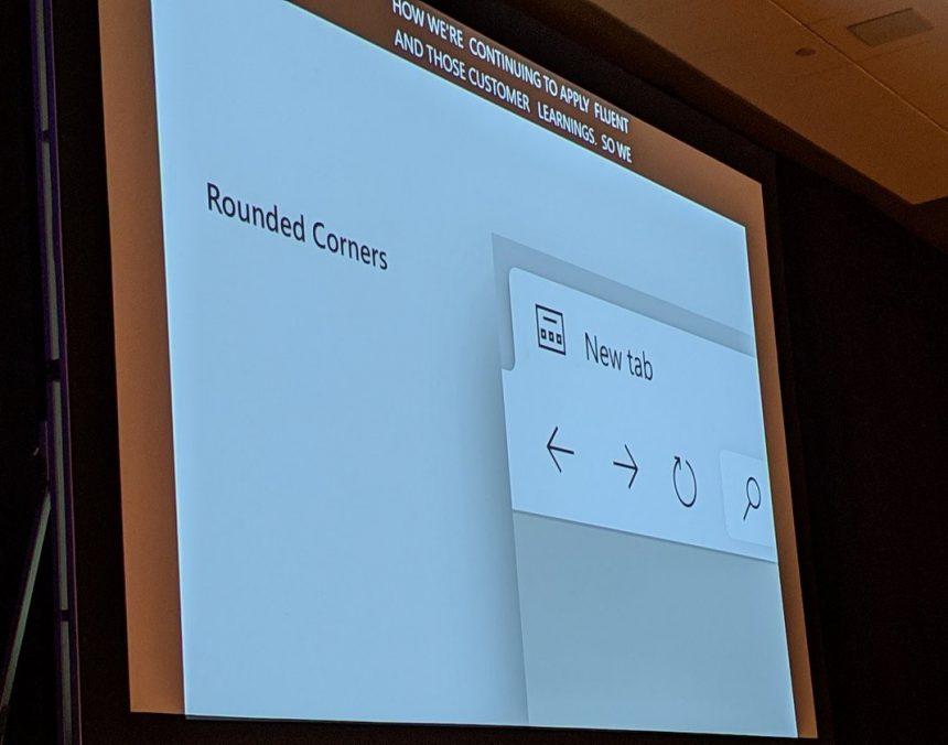 Microsoft Edge bordi arrotondati interfaccia