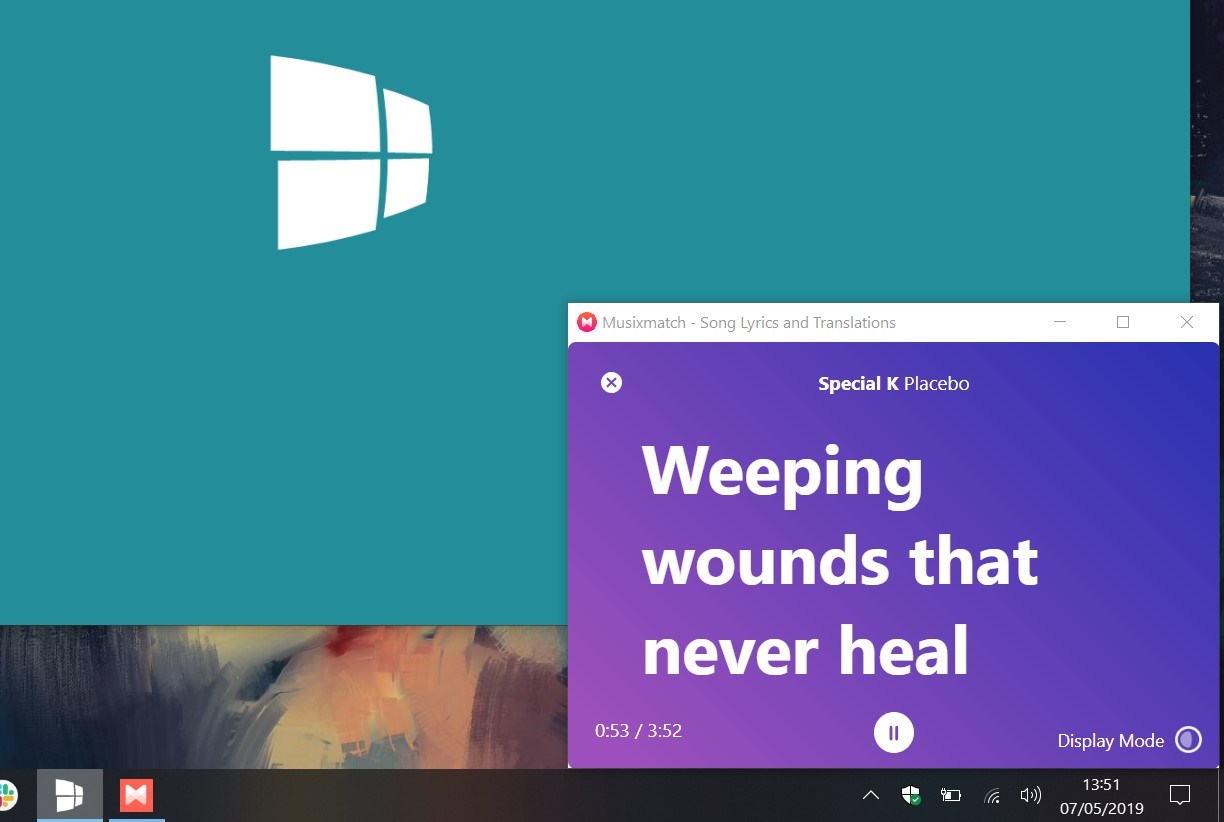 Musixmatch Windows 10 Picture-in-Picture