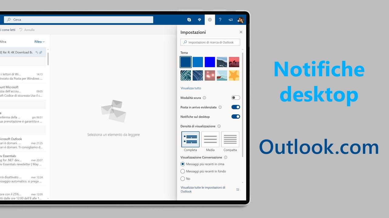 Come abilitare le notifiche desktop in Outlook.com