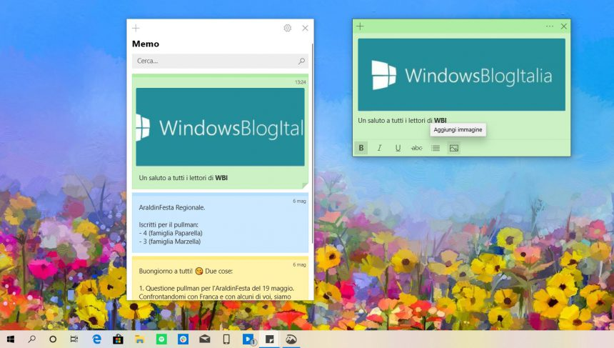 Sticky Notes Windows 10 immagini note