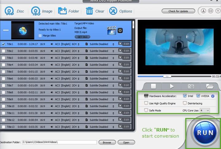 WinX DVD Ripper Platinum digitalizzazione dischi