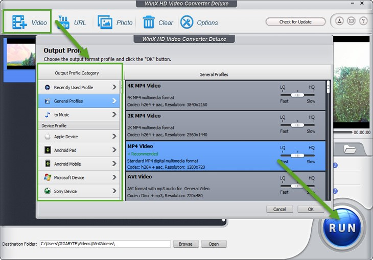 WinX HD Video Converter Deluxe conversione video 4K in MP4
