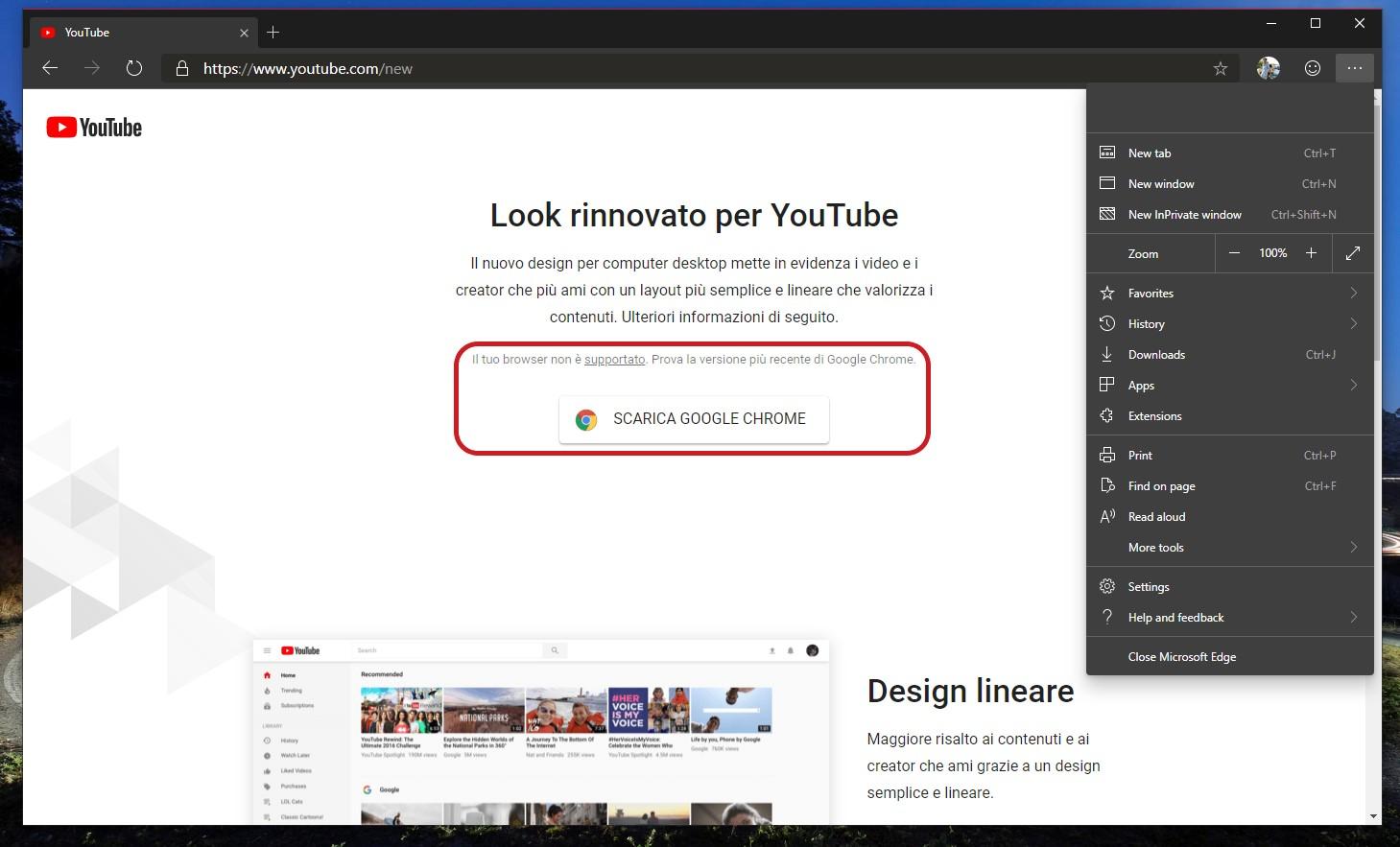 YouTube browser non supportato nuovo Microsoft Edge