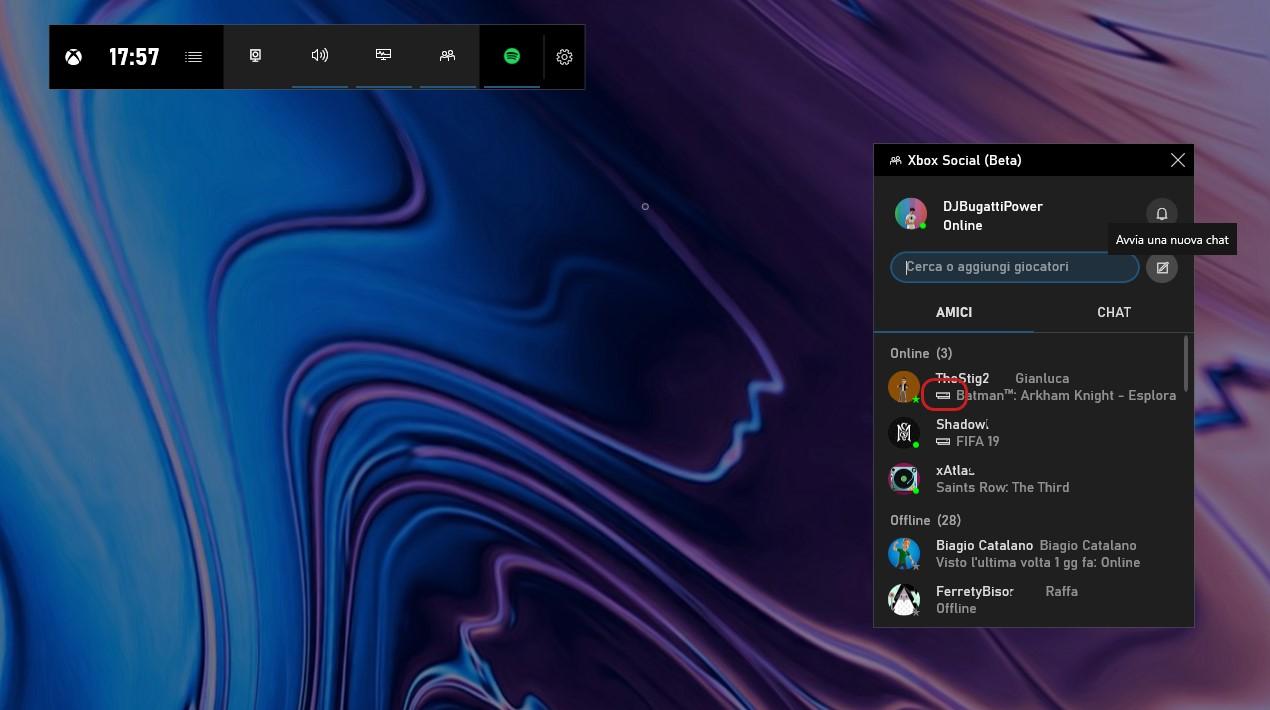 Barra di gioco Xbox nuovo widget Xbox social