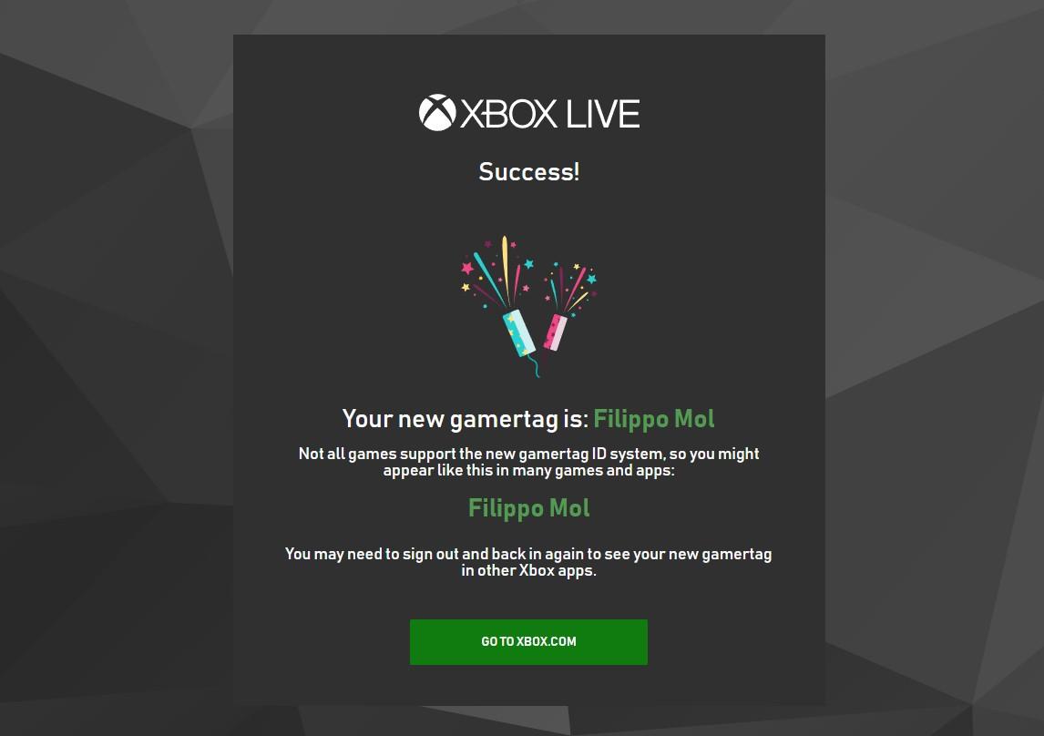 Cambio nuovo gamertag Xbox Live