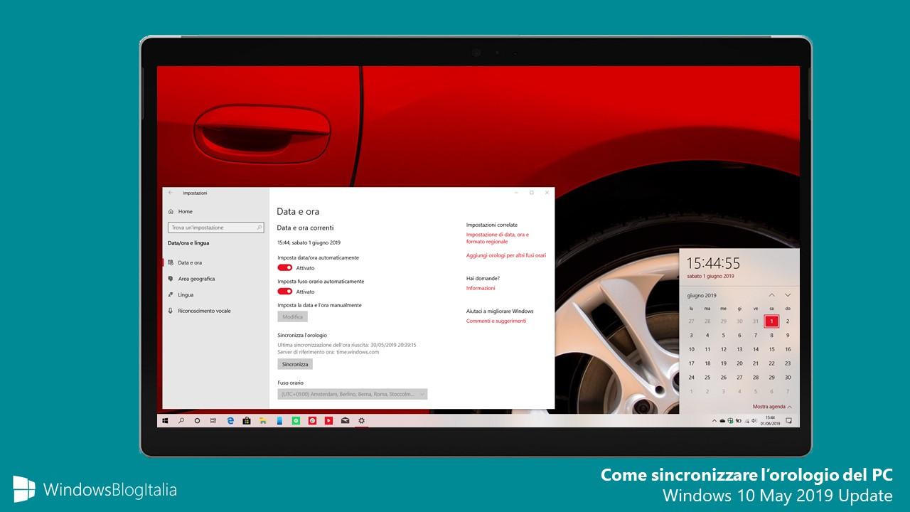 Come sincronizzare l'orologio del PC Windows 10 May 2019 Update