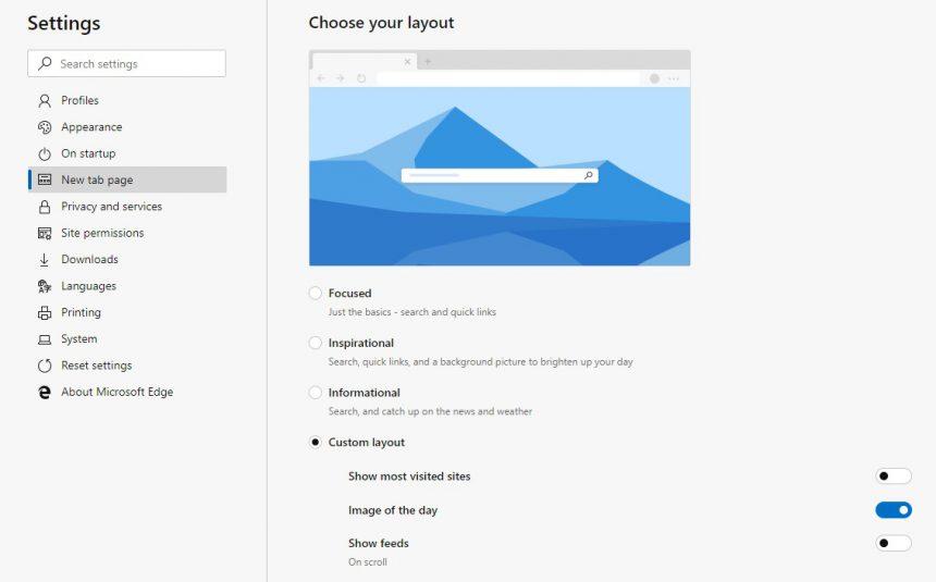 Microsoft Edge Dev impostazioni pagina nuova scheda