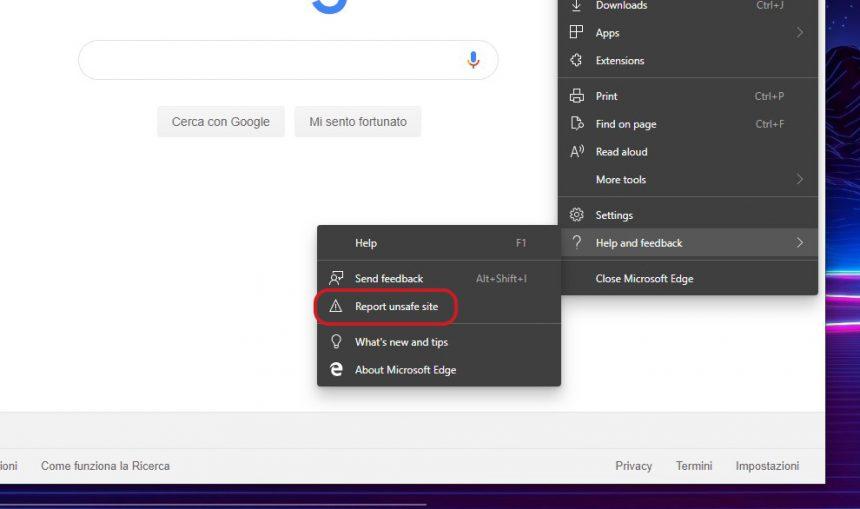 Microsoft Edge Dev riporta sito non sicuro