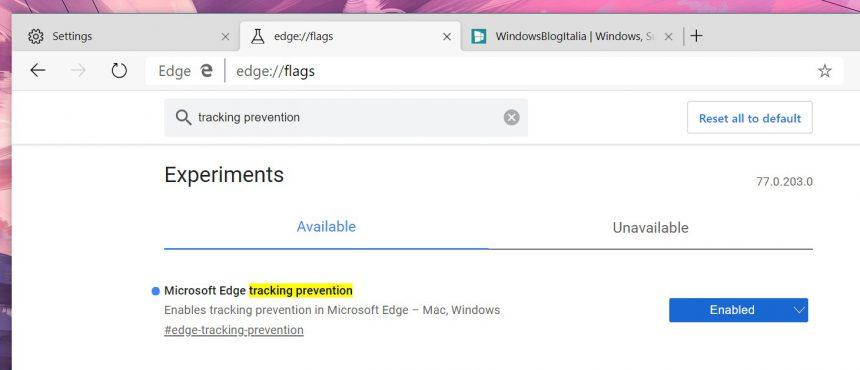 Microsoft Edge basato su Chromium tracking prevention