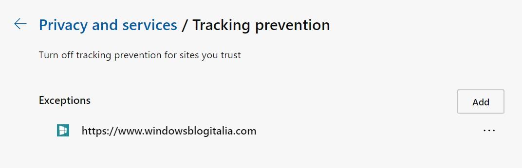 Microsoft Edge basato su Chromium tracking prevention eccezioni