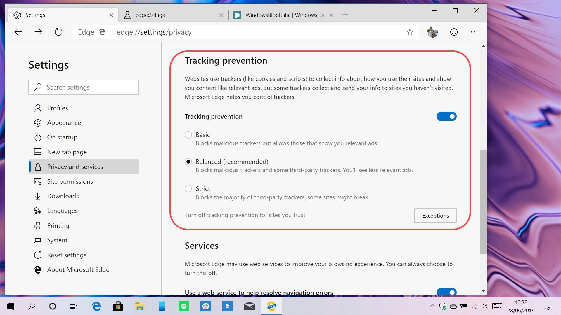 Microsoft Edge basato su Chromium tracking prevention impostazioni
