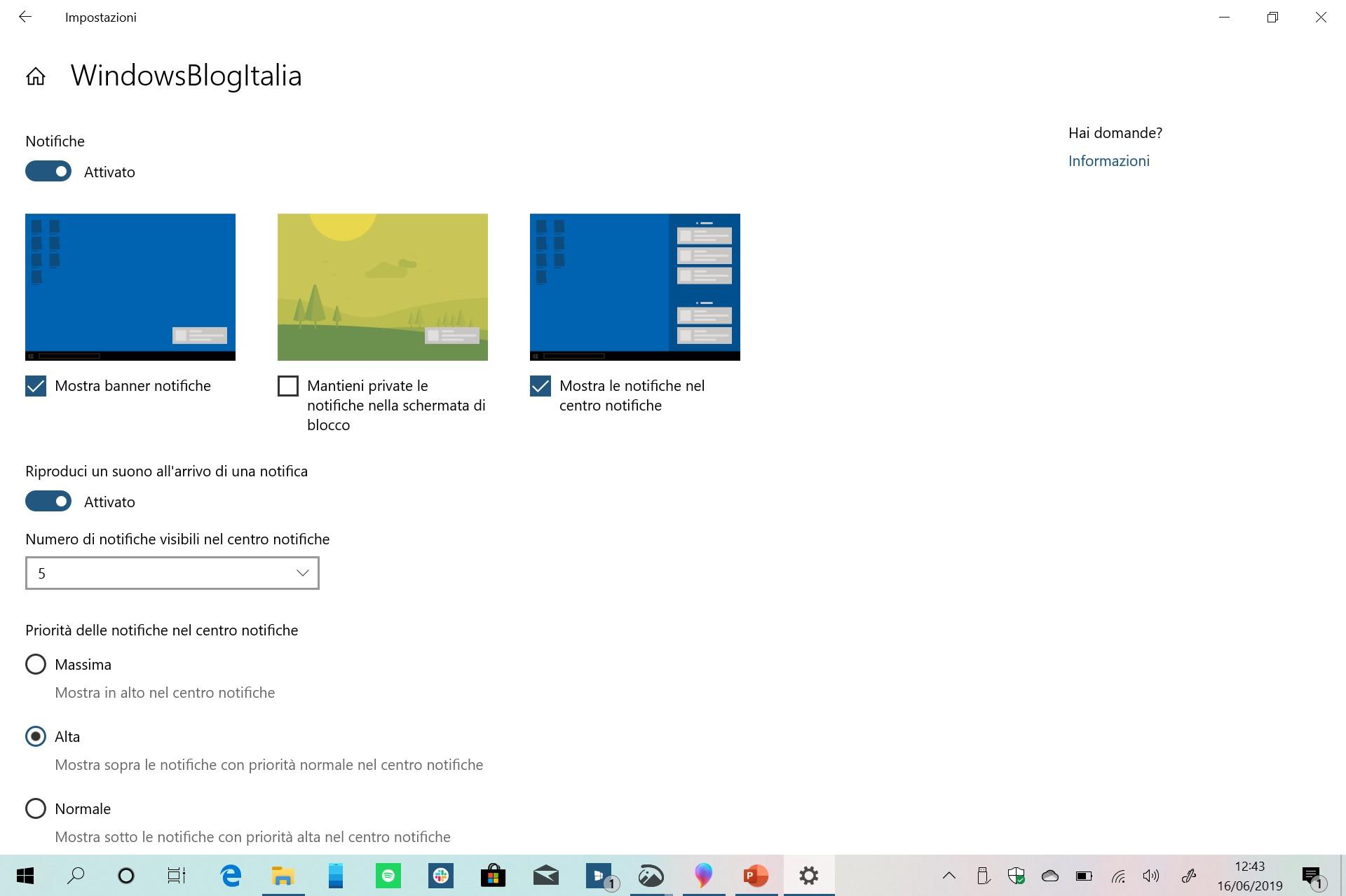 Nuovo menu gestione notifiche app Windows 10 20H1
