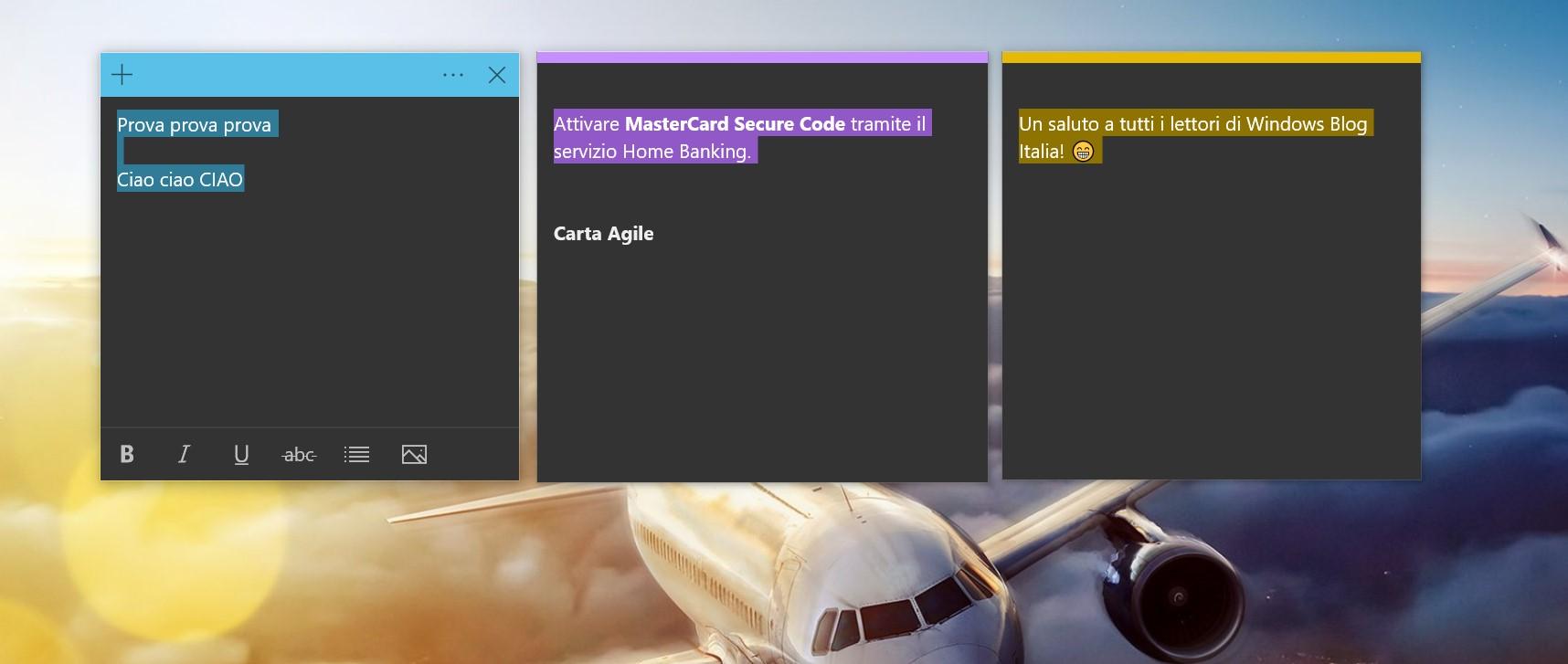 Sticky Notes Windows 10 selezione testo colorata