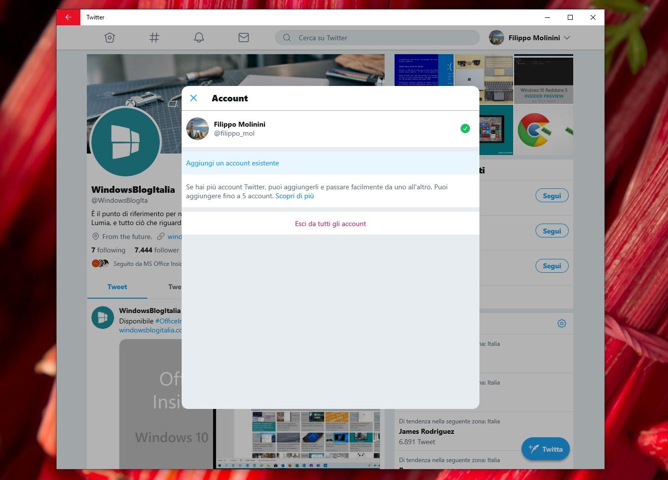 Twitter PWA su Windows 10 account multipli