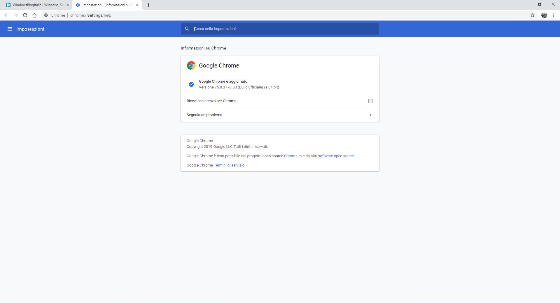 Aggiornare Google Chrome 75