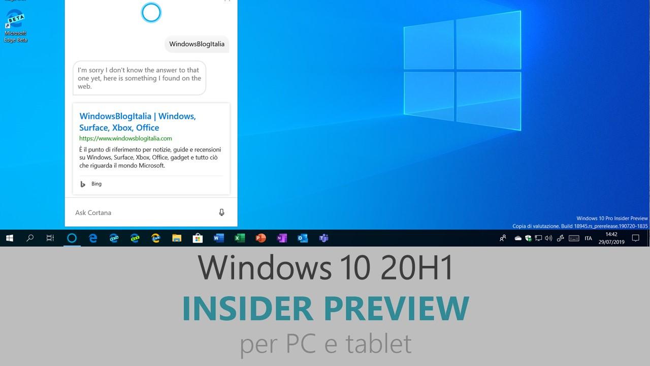 Download e novità di Windows 10 20H1 Insider Preview Build 18975