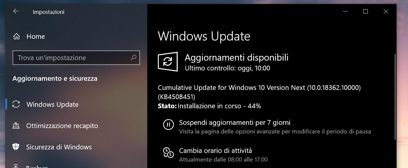 Aggiornamento 19H2 cumulativo Windows 10