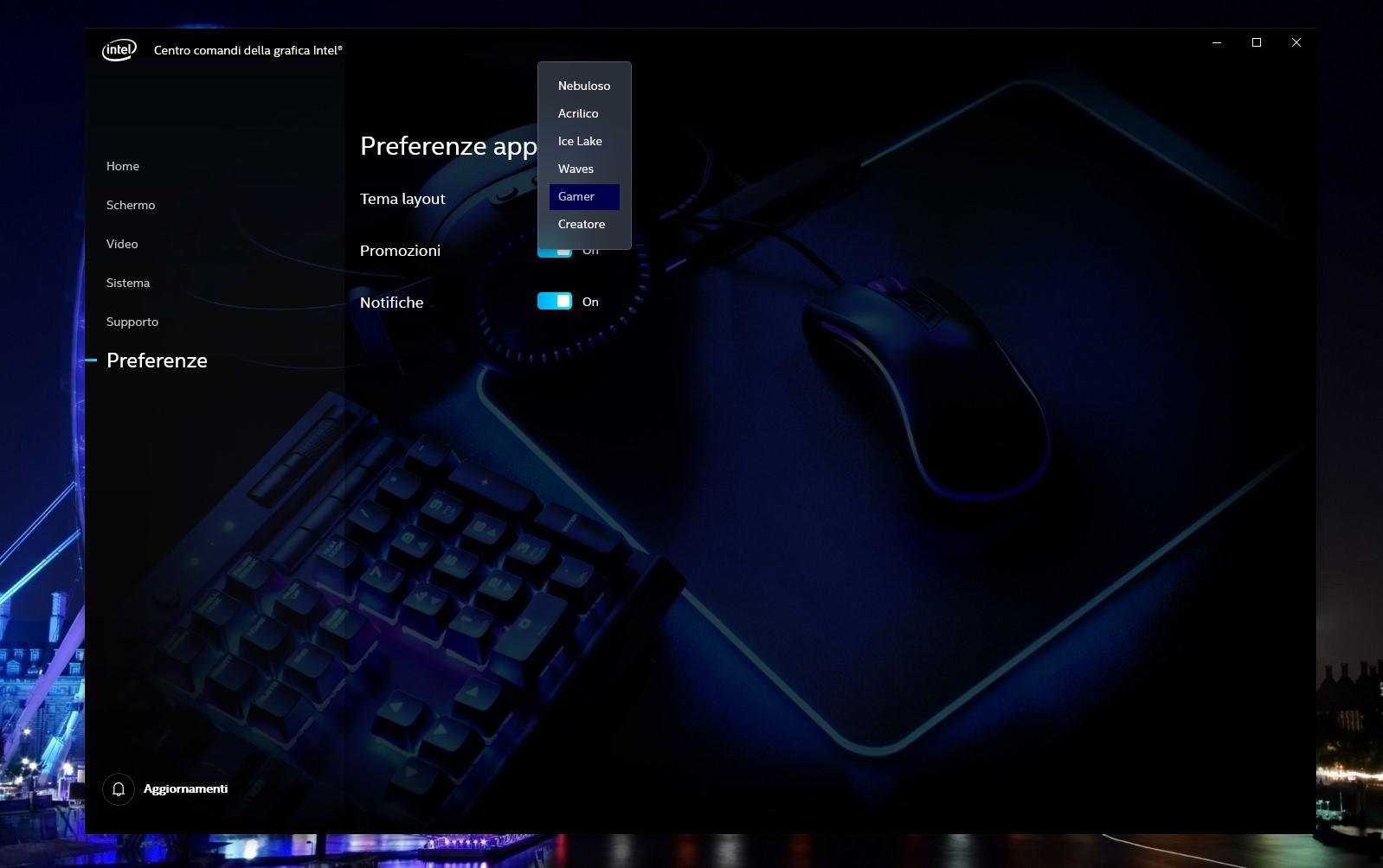 Centro comandi grafica Intel nuovi temi