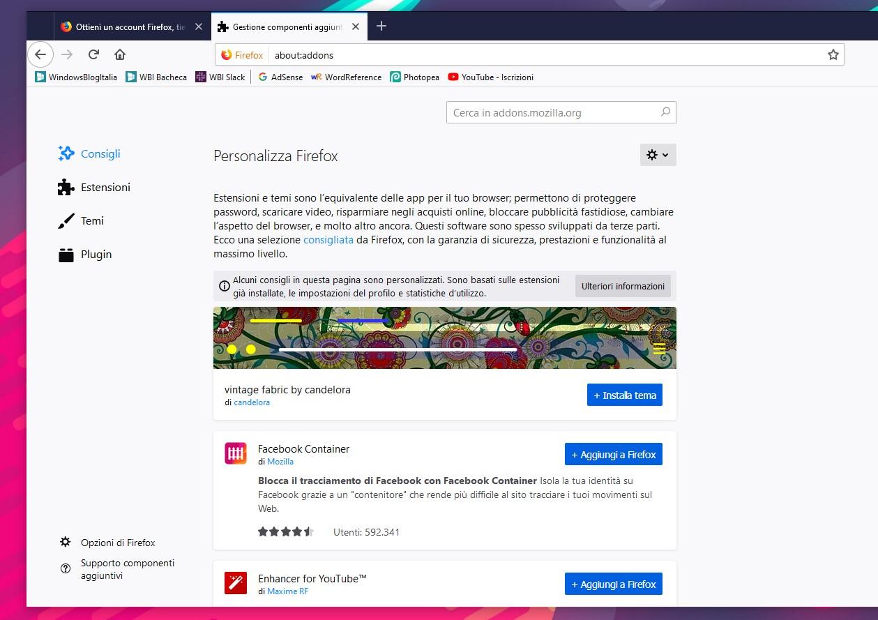 Estensioni consigliate Firefox 68