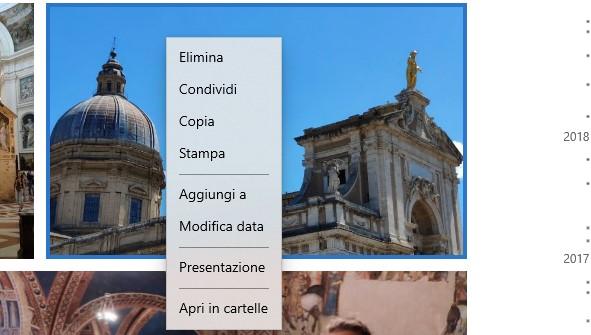 Microsoft Foto menu contestuale con Fluent Design