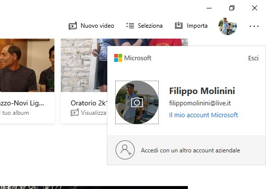 Microsoft Foto su Windows 10 account switcher