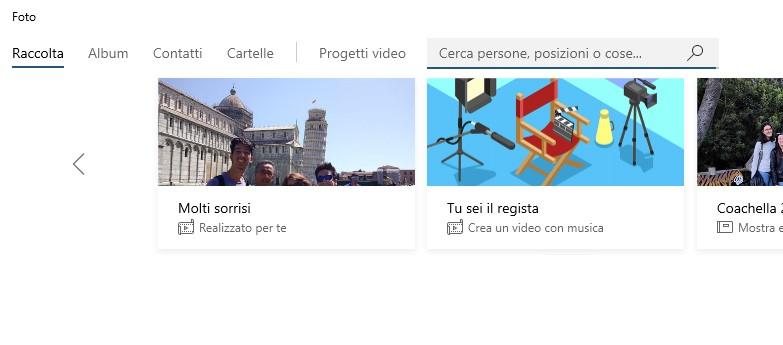 Microsoft Foto su Windows 10 nuovo layout sezioni app