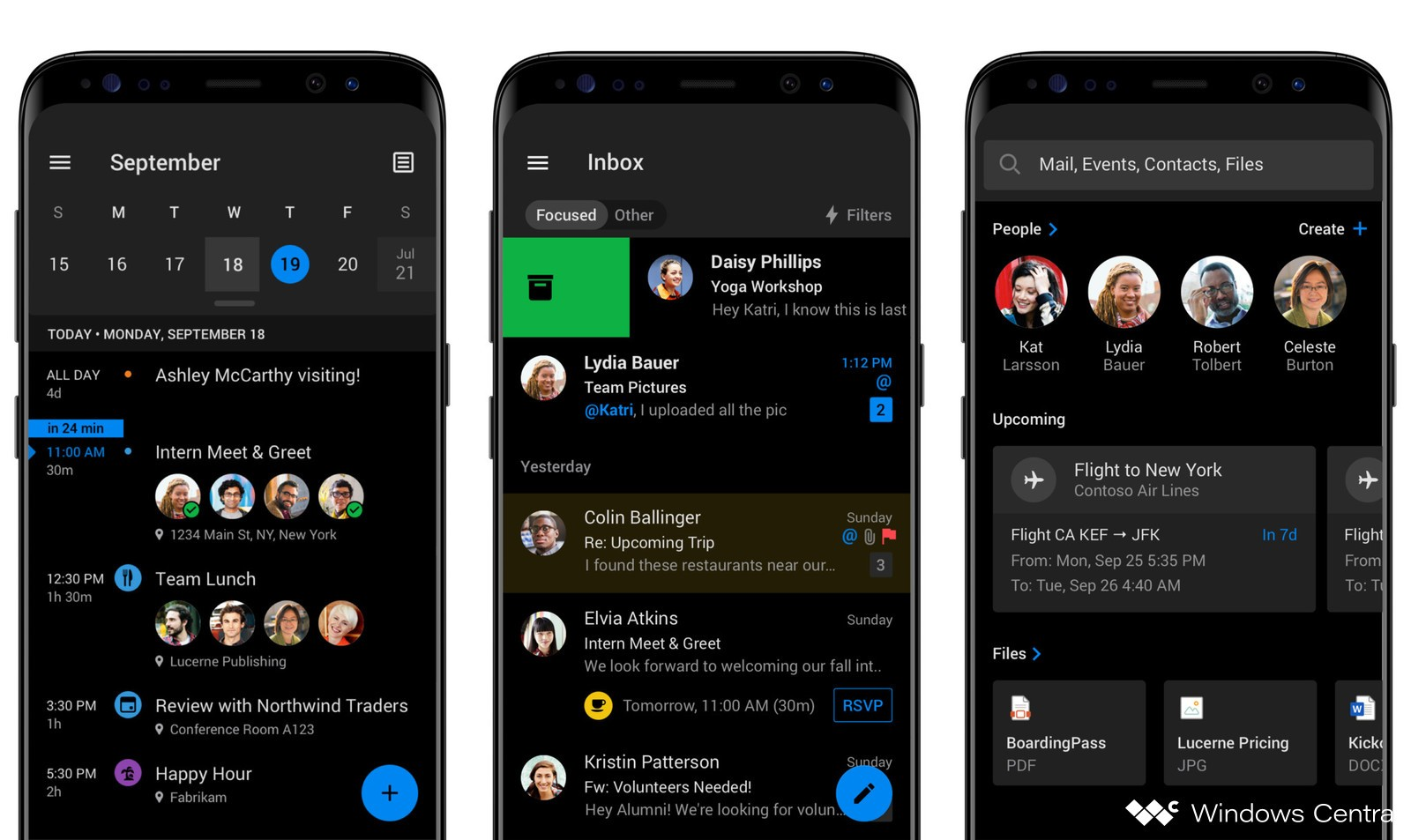Microsoft Outlook per Android tema scuro mockup