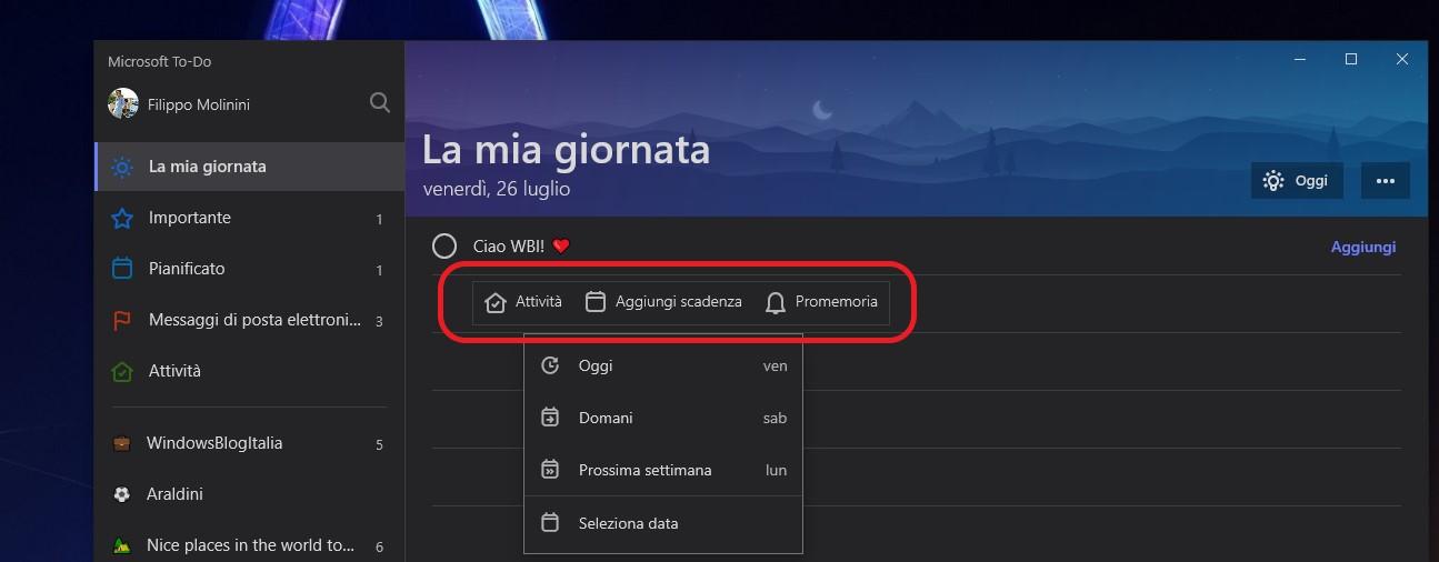 Microsoft ToDo per Windows rich entry bar