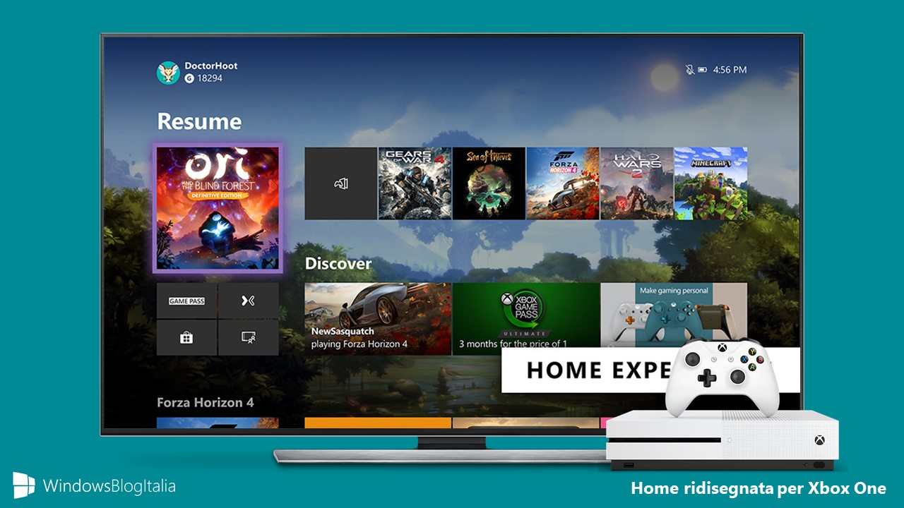 Nuova dashboard Xbox One