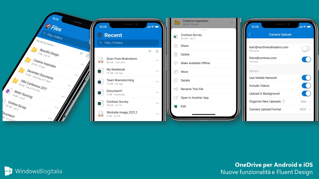 OneDrive app per Android e iOS nuove feature e Fluent Design