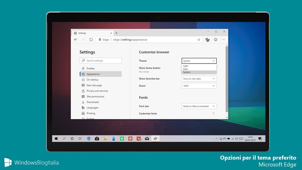 Opzioni per il tema preferito Microsoft Edge