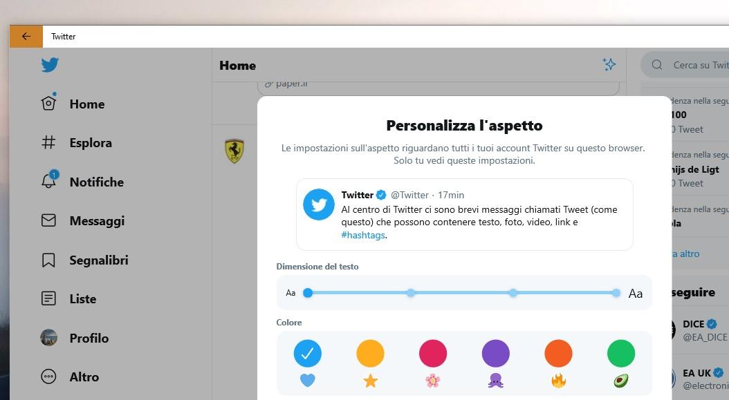 PWA Twitter su Windows 10 nuove opzioni tema