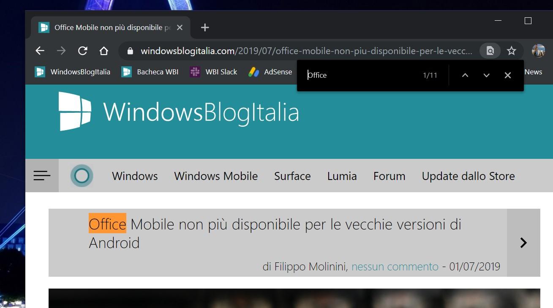 Ricerca migliorata browser Chromium