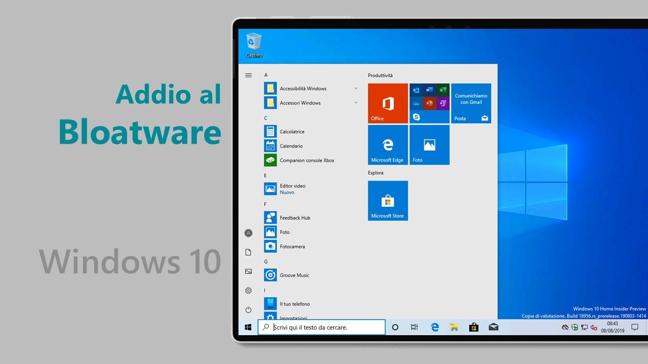 Microsoft rimuove tutte le app bloatware in Windows 10