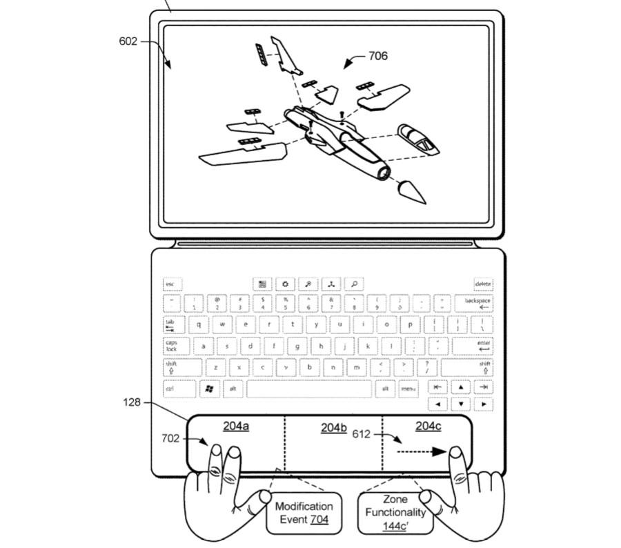 Brevetto Microsoft touchpad contestuale a zone 3