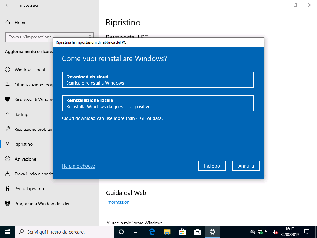 Ripristino Windows 10 dal cloud