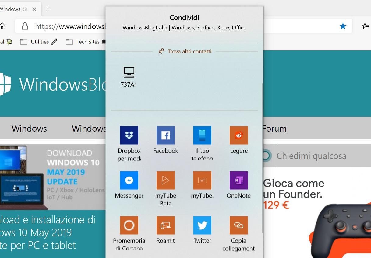 Microsoft Edge basato su Chromium pulsante Condividi Windows 10