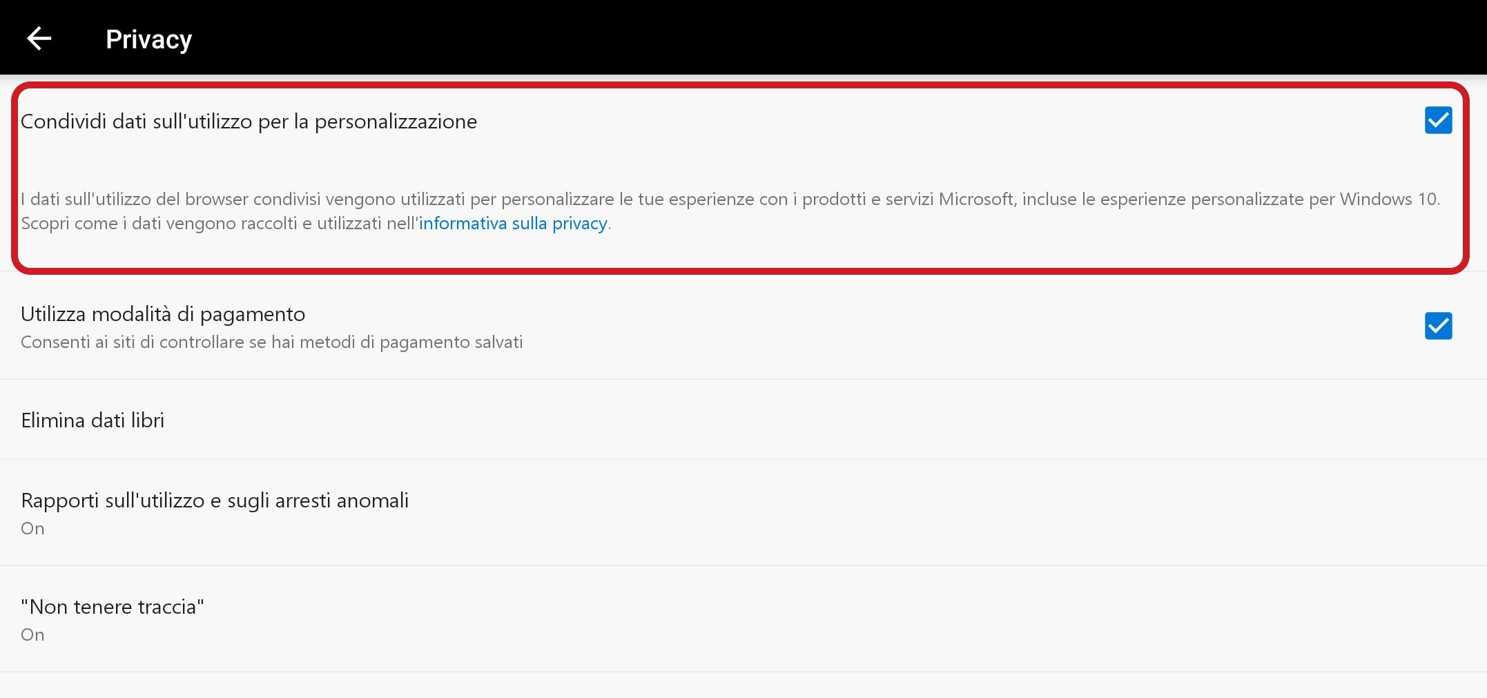 Microsoft Edge per Android opzione condivisione dati