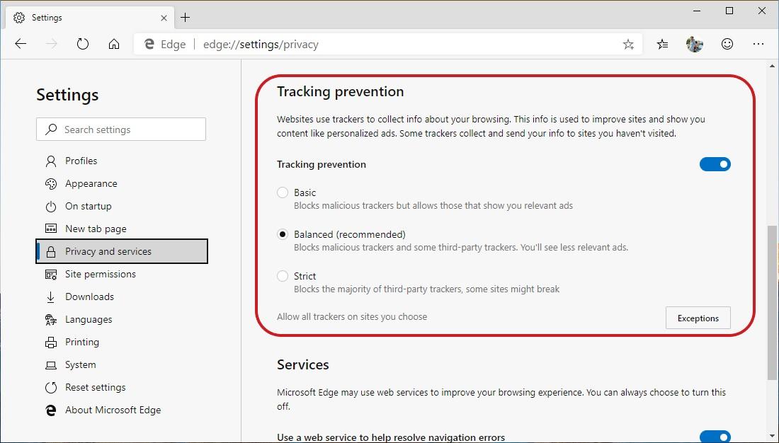 Microsoft Edge protezione dal tracciamento