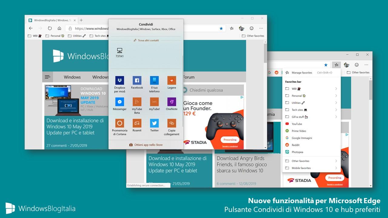 Nuove feature Microsoft Edge basato su Chromium, condividi e hub preferiti