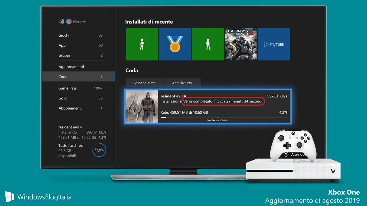 Xbox One aggiornamento di agosto 2019